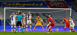 CARDIFF, WALES - Wednesday, November 18, 2020: Wales' captain Gareth Bale takes a free-kick during the UEFA Nations League Group Stage League B Group 4 match between Wales and Finland at the Cardiff City Stadium. Wales won 3-1 and finished top of Group 4, winning promotion to League A. (Pic by David Rawcliffe/Propaganda)