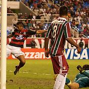 David of Flamengo scores his sides second goal during the Flamengo V  Fluminense, Futebol Brasileirao  League match at Estadio Olímpico Joao Havelange, Rio de Janeiro, The classic Rio derby match ended in a 3-3 draw. Rio de Janeiro,  Brazil. 19th September 2010. Photo Tim Clayton.
