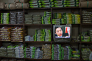 Television at a store at the herbs market for traditional medicine in Daegu.