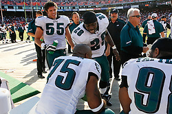 12 Oct 2008: Philadelphia Eagles running back Correll Buckhalter #28 congratulates defensive end Juqua Parker #75 after an interception and successful run for a touchdown during the game against the San Francisco 49ers on October 12th, 2008. The Eagles won 40-26 at Candlestick Park in San Francisco, California. (Photo by Brian Garfinkel) (Photo by Brian Garfinkel)