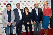 NPO Opening televisieseizoen 2015-2016 in het JT Theater, Hilversum.<br /> <br /> Op de foto:  Shula Rijxman , Frans Klein , Suzanne Kunzeler . Gijs van Beuzekom en Henk Hagoort