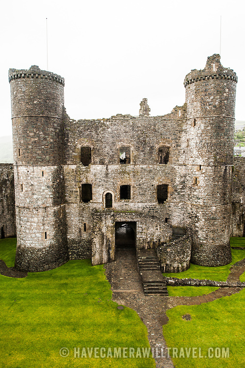 The courtyard and gatehouse at Harlech Castle in Harlech, Gwynedd, on the northwest coast of Wales next to the Irish Sea. The castle was built by Edward I in the closing decades of the 13th century as one of several castles designed to consolidate his conquest of Wales.