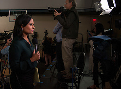 Oct. 04, 2016 - Haverford, PA, U.S. -  NBC reporter KRISTIN WELKER does a stand up from the press riser as Hillary Clinton holds a conversation with Delaware County families at the Haverford Community Recreation & Community Center.(Credit Image: © Brian Cahn via ZUMA Wire)
