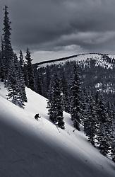 Mike Prime enjoys the powder on Blueberry Hill, Wolf Creek ski area, Colorado