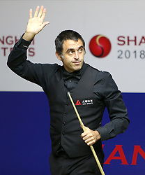 SHANGHAI, Sept. 16, 2018  Ronnie O'Sullivan of England greets the spectators after the final match against Barry Hawkins of England at 2018 World Snooker Shanghai Masters in Shanghai, east China, Sept. 16, 2018. Ronnie O'Sullivan won by 11-9. (Credit Image: © Fan Jun/Xinhua via ZUMA Wire)
