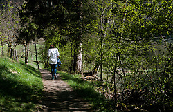 THEMENBILD - eine Frau spaziert auf einem Waldweg, aufgenommen am 24. April 2017, Klammsee, Kaprun Österreich // A woman walking on a forest path at the Klammsee, Kaprun Austria on 2017/04/24. EXPA Pictures © 2017, PhotoCredit: EXPA/ JFK