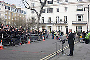 Mark Thatcher speaks to the media outside the Belgravia home of his recently-deceased mother Baroness Thatcher, days after her death from a stroke at age 87. His announcement was made outside her Chester Square house which was Lady Thatcher's home from 1991 until she moved into the Ritz hotel in London at Christmas following an operation.