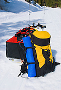 Backcountry ski equipment (sled and pack) on the Glacier Point road, Yosemite National Park, California