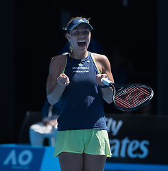 MELBOURNE, Jan. 22, 2018  Angelique Kerber of Germany celebrates after the women's singles fourth round match against Hsieh Su-wei of Chinese Taipei at Australian Open 2018 in Melbourne, Australia, Jan. 22, 2018. Kerber won 2-1. (Credit Image: © Zhu Hongye/Xinhua via ZUMA Wire)
