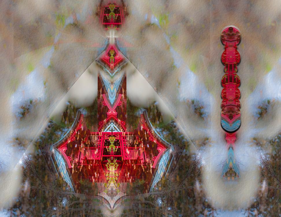 """Window to the Royal Pond"", derivative image created from a photo of a Japanese Garden, autumn, November, Point Defiance Park, Tacoma, Washington, USA"