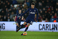 Dele Alli of Tottenham Hotspur in action. Premier league match, Swansea city v Tottenham Hotspur at the Liberty Stadium in Swansea, South Wales on Tuesday 2nd January 2018. <br /> pic by  Andrew Orchard, Andrew Orchard sports photography.