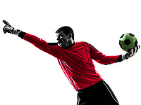 one  soccer player goalkeeper man pointing in silhouette isolated white background