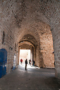 Israel, Western Galilee, the port entrance gate to the fortified old City of Acre