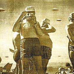 Vintage Image of Flying Saucers over mid century sunbathing holidaymakers in sepia with distressed finish