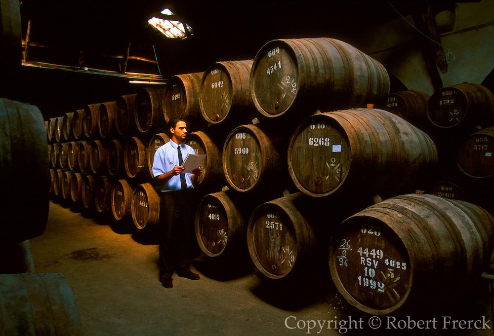 PORTUGAL, DOURO, PORTO barrels of Port Wine in the cellars