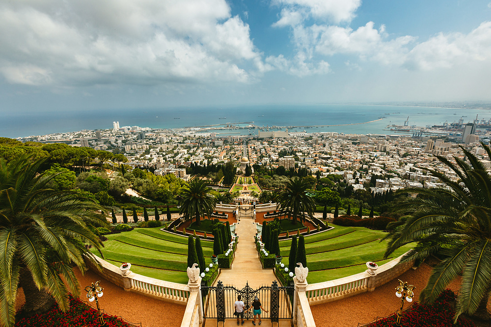 A general view of Haifa Bay and The Baha'i Shrine of the Bab and the surrounding Baha'i Gardens, a United Nations-designated World Heritage site on Mount Carmel in Haifa, northern Israel.