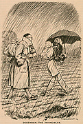 December: The Invincibles. Dedicated rambers undaunted by rain and mud. Cartoon from 'Punch@@, London, 1932.