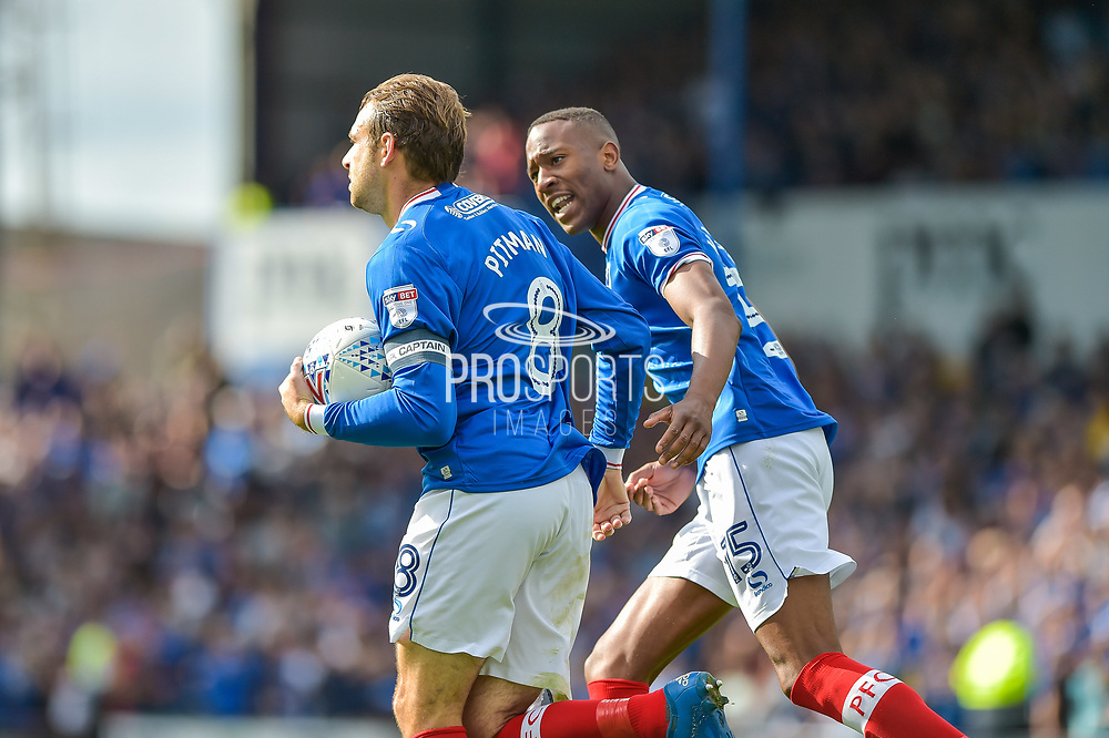 Portsmouth Forward, Brett Pitman (8) scores a goal from a penalty to make it 1-1 celebrates with Portsmouth Forward, Nicke Kabamba (15)  during the EFL Sky Bet League 1 match between Portsmouth and Walsall at Fratton Park, Portsmouth, England on 19 August 2017. Photo by Adam Rivers.