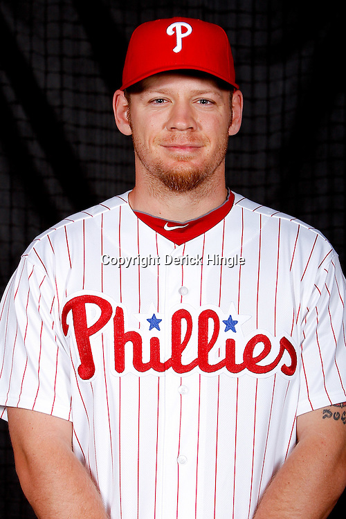 February 22, 2011; Clearwater, FL, USA; Philadelphia Phillies outfield Brandon Moss poses during photo day at Bright House Networks Field. Mandatory Credit: Derick E. Hingle