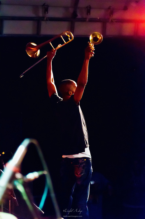 Trombone Shorty near the end of his excellent performance at the 2011 Appel Farm's Arts & Music Festival.