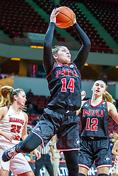 NORMAL, IL - November 20: Nikayla Brandon grabs a rebound during a college women's basketball game between the ISU Redbirds and the Huskies of Northern Illinois November 20 2019 at Redbird Arena in Normal, IL. (Photo by Alan Look)