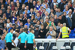 15 October 2017 -  Premier League - Brighton and Hove Albion v Everton - Referee Michael Oliver and his assistants are heckled as they leave the pitch after the match - Photo: Marc Atkins/Offside