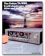 Full page magazine display ad for Onkyo Sound stereo components.