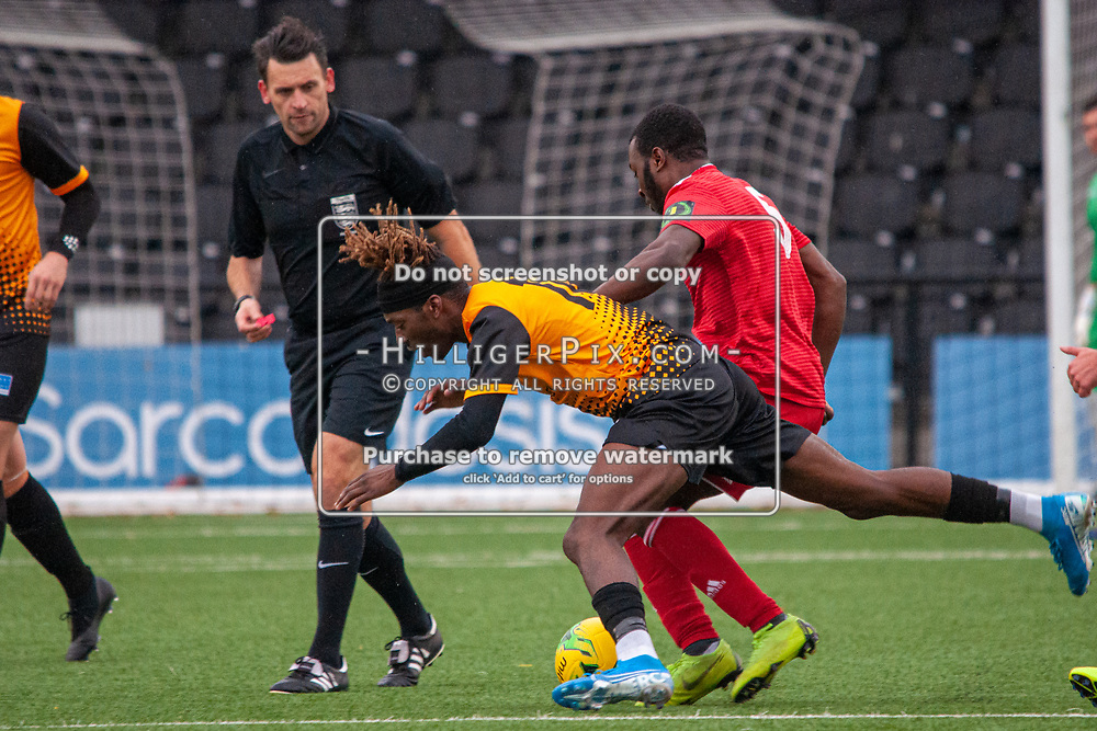 BROMLEY, UK - NOVEMBER 02: Andre Coker, of Cray Wanderers FC, is pushed off the ball by Marvin Armstrong, of Worthing, during the BetVictor Isthmian Premier League match between Cray Wanderers and Worthing at Hayes Lane on November 2, 2019 in Bromley, UK. <br /> (Photo: Jon Hilliger)