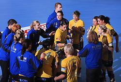 Team of Krim Mercator at handball match of 2nd Round of EHF Women`s Championsleague between RK Krim Mercator (SLO) and Metz Handball (FRA), in Arena Kodeljevo, Ljubljana, Slovenia, on November 9, 2008. Metz  won match against RK Krim Mercator with 31:26.