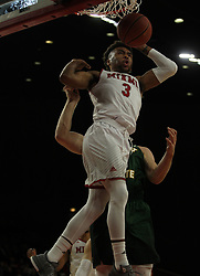 November 14, 2017 - Oxford, Ohio, U.S - Miami (Oh) Redhawks guard Jalen Adaway (3) head for a hard landing on Tue Nov 14, 2017 after trying for a rebound .During play with Wright State Raiders at home in Oxford,Ohio. As the Redhawks go no to win in Overtime 73 to 67. (Credit Image: © Ernest Coleman via ZUMA Wire)