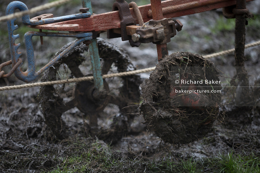A detail of a plough as Irish ploughman Tom Nixon leads Shire horses Nobby and Heath as they harrow an on-going heritage wheat-growing area in Ruskin Park, a public green space in the borough of Southwark, on 9th February 2018, in London, England. The Friends of Ruskin Park are again growing heritage wheat and crops together with the Friends of Brixton Windmill and Brockwell Bake Association. Shire horses are descended from themedievalwarhorse but are a breed under threat. Operation Centaur, which maintains the last working herd of Shires in London is dedicated to the protection and survival of the breed. It is an organization set up to promote the relevance of the horse as a contemporary working animal in partnership with humans. This takes the form of heritage skills in conservation and agriculture, transportation, discovery, learning and therapy.