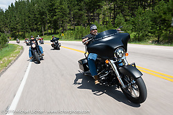 Jimmy Mandicino riding on the Cycle Source Ride up Vanocker Canyon to Nemo during the Sturgis Black Hills Motorcycle Rally. SD, USA. Wednesday, August 7, 2019. Photography ©2019 Michael Lichter.