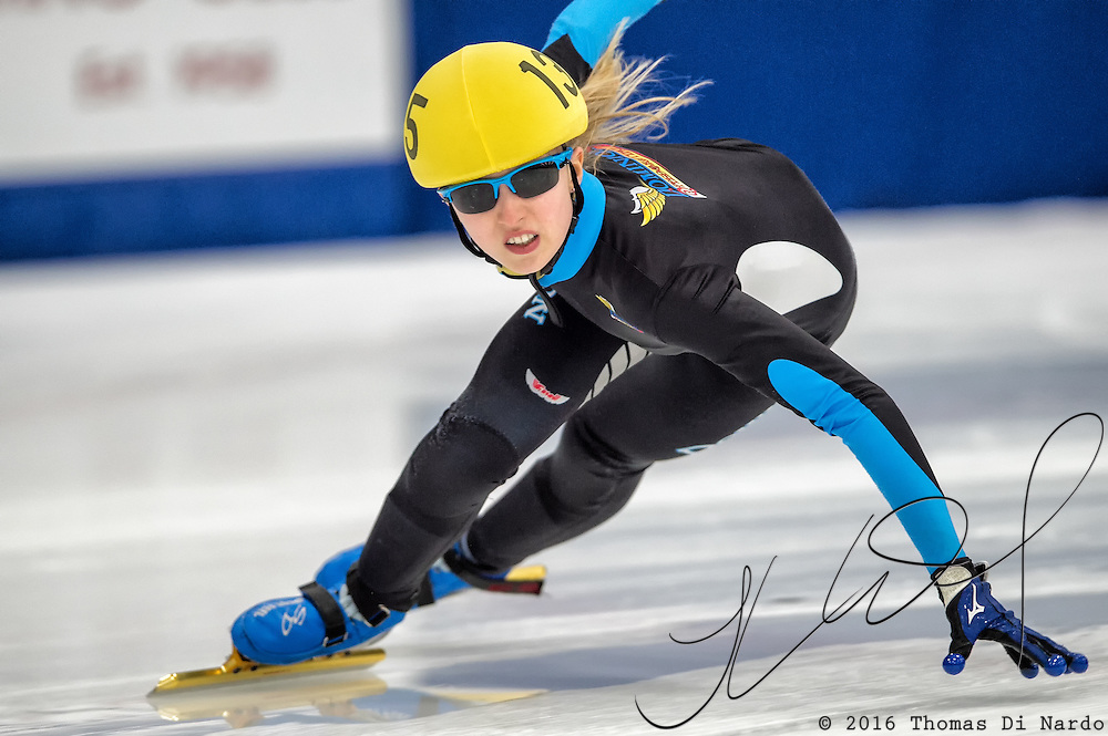 March 18, 2016 - Verona, WI - Kamryn Lute, skater number 135 competes in US Speedskating Short Track Age Group Nationals and AmCup Final held at the Verona Ice Arena.