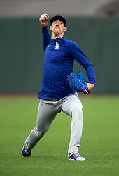 Oct 7, 2021; San Francisco, CA, USA; Los Angeles Dodgers pitcher Walker Buehler (21) throws the ball during NLDS workouts. Mandatory Credit: D. Ross Cameron-USA TODAY Sports