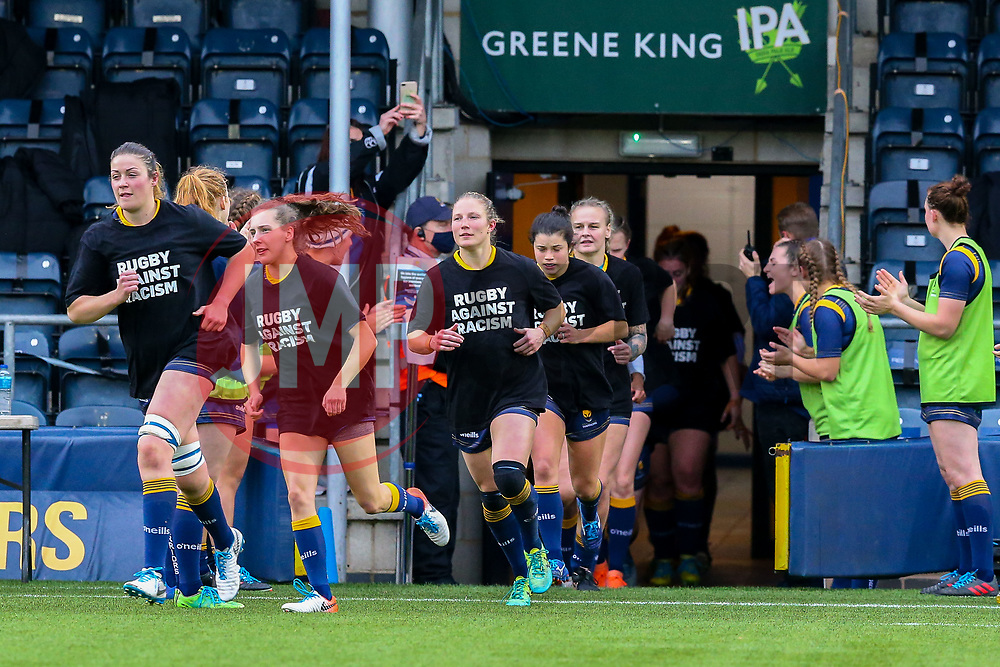 Worcester Warriors Women emerge from the tunnel - Mandatory by-line: Nick Browning/JMP - 24/10/2020 - RUGBY - Sixways Stadium - Worcester, England - Worcester Warriors Women v Wasps FC Ladies - Allianz Premier 15s
