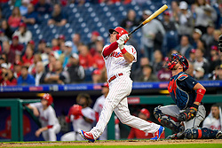 May 22, 2018 - Philadelphia, PA, U.S. - PHILADELPHIA, PA - MAY 22: Philadelphia Phillies left fielder Rhys Hoskins (17) watches his ball fly into the air during the MLB game between the Atlanta Braves and the Philadelphia Phillies on May 22, 2018 at Citizens Bank Park in Philadelphia PA. (Photo by Gavin Baker/Icon Sportswire) (Credit Image: © Gavin Baker/Icon SMI via ZUMA Press)