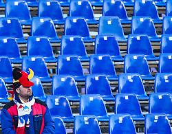 08.02.2011, Kandahar, Garmisch Partenkirchen, GER, FIS Alpin Ski WM 2011, GAP, Lady Super G, im Bild leere Tribünen, ein einzelner deutscher Fan schaut in das Zielgelände // empty grandstands, a single German fan looks at the finish site during Women Super G, Fis Alpine Ski World Championships in Garmisch Partenkirchen, Germany on 8/2/2011, 2011, EXPA Pictures © 2011, PhotoCredit: EXPA/ J. Feichter