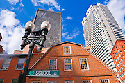 The Old Corner Bookstore on School street (skyscrapers visible), Freedom Trail, Boston, Massachusetts USA