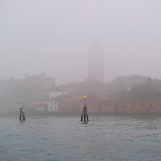 VENICE, ITALY - JANUARY 16:  Madonna dell'Orto under thick fog is seen from a boat on January 16, 2011 in Venice, Italy. Transports in the lagoon has been affected by today's fog.