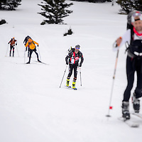 Solo and team competitors race through the first skiing leg in the Mount Taylor Winter Quadrathlon in Grants Saturday.
