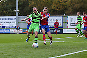 Forest Green Rovers Rhys Murphy(39) battles for the ball with Aldershot Town's Liam Bellamy(4) during the Vanarama National League match between Forest Green Rovers and Aldershot Town at the New Lawn, Forest Green, United Kingdom on 5 November 2016. Photo by Shane Healey.