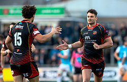 Josh Lewis of Dragons celebrates kicking a penalty<br /> <br /> Photographer Simon King/Replay Images<br /> <br /> Guinness PRO14 Round 12 - Dragons v Ospreys - Sunday 30th December 2018 - Rodney Parade - Newport<br /> <br /> World Copyright © Replay Images . All rights reserved. info@replayimages.co.uk - http://replayimages.co.uk