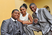 """The group """"Voices of Glory"""" (L-R) Michael Cole, Nadia Cole and Avery Cole pose for a photo in Nashville, Tenn., Wednesday, April 21, 2010. (AP Photo/Donn Jones)"""
