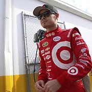 Race car driver Kyle Larson is seen as he makes his way to the drivers meeting prior to the 58th Annual NASCAR Daytona 500 auto race at Daytona International Speedway on Sunday, February 21, 2016 in Daytona Beach, Florida.  (Alex Menendez via AP)