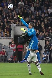 November 1, 2018 - Los Angeles, California, U.S - Goalie, Alex Horwath #1 of the Real Salt Lake punches the ball during their MLS playoff game with the LAFC on Thursday November 1, 2018 at Banc of California Stadium in Los Angeles, California. LAFC vs Real Salt Lake. (Credit Image: © Prensa Internacional via ZUMA Wire)