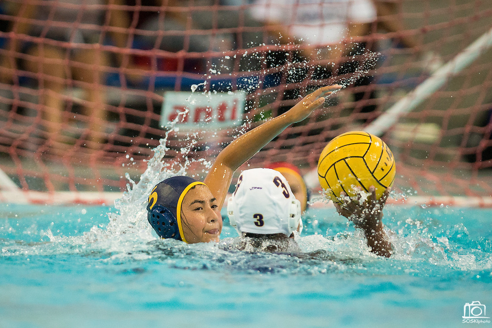 Natalie Penrose (5) guards a Monta Vista player during a girl's varsity water polo match at Milpitas High School in Milpitas, California, on September 6, 2016. (Stan Olszewski/SOSKIphoto)