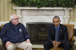 October 7, 2016 - Washington, District of Columbia, United States of America - United States President Barack Obama (right) is joined by U.S. Federal Emergency Management Agency Administrator Craig Fugate (left) U.S. Secretary of Homeland Security Jeh Johnson and Deputy Homeland Security Advisor Amy Pope in the Oval Office of the White House  in Washington, D.C., U.S., on Friday, October 7, 2016. .Credit: Rod Lamkey Jr. / Pool via CNP (Credit Image: © Rod Lamkey Jr/CNP via ZUMA Wire)