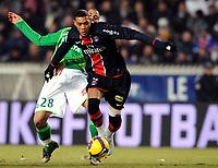 Fotball<br /> Frankrike<br /> Foto: DPPI/Digitalsport<br /> NORWAY ONLY<br /> <br /> FOOTBALL - FRENCH CHAMPIONSHIP 2008/2009 - L1 - PARIS SG v AS SAINT ETIENNE - 14/02/2009 - GUILLAUME HOARAU (PSG) / YOHAN BENALOUANE (ASSE)