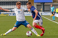 Scotland's Kai Kennedy (Rangers FC) & Russia's Kiril Schetinin challenge for the ball during the U17 European Championships match between Scotland and Russia at Simple Digital Arena, Paisley, Scotland on 23 March 2019.