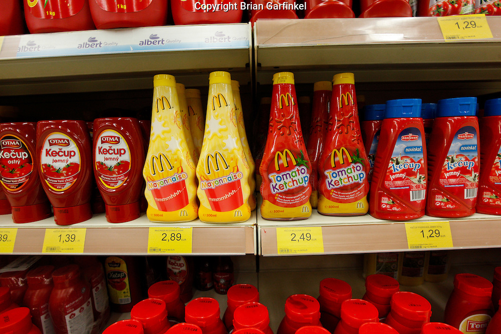 McDonalds brand Mayonnaise and Ketchup in a super market  in Trencin, Slovakia on Saturday, July 9th 2011.  (Photo by Brian Garfinkel)